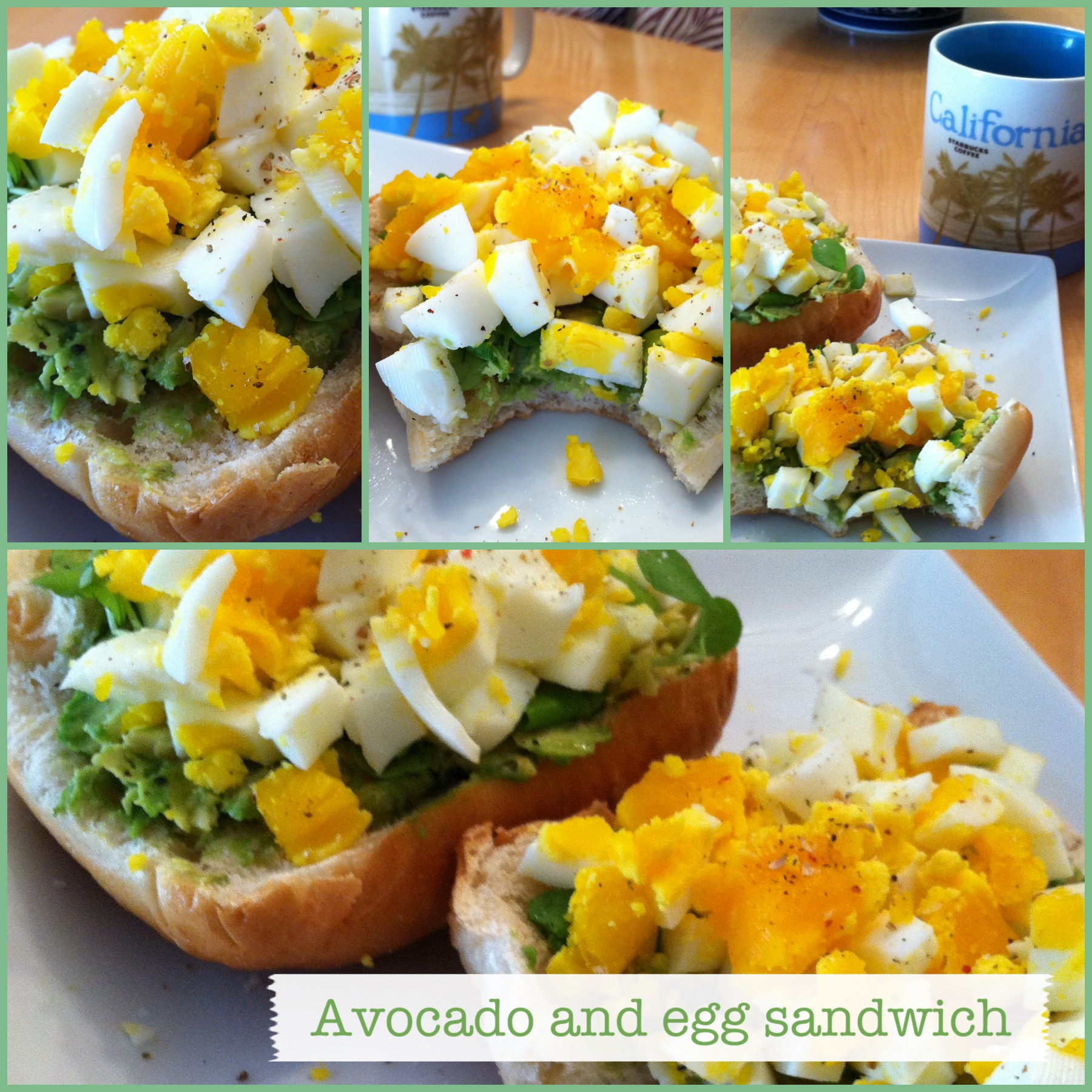 ... mashed avocados, watercress, chopped hard-boiled eggs, salt & pepper